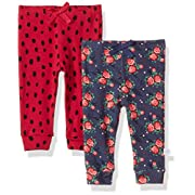 Rosie Pope Baby Girls 2 Pack Pants (More Options Available), Flowers/Animals, 0-3 Months