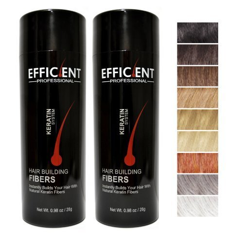 2 of EFFICIENT Keratin Hair Building Fibers, Hair Loss Concealer Net Wt. 28gm / 0.98 oz (Medium Brown) by EFFICIENT