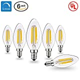 vintage looking ceiling fan - Vintage Candelabra LED Light Bulbs with E12 Base 40W Equivalent Halogen Replacement Warm White 4W Filament Candle Light Bulbs with 420 Lumen 6 Packs by COOWOO