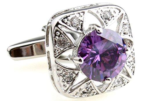 MRCUFF Purple Crystal Pair Cufflinks in a Presentation Gift Box & Polishing Cloth Blue Royal Crystal Cufflinks