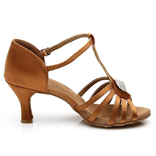 Roymall Womens Satin Latin Dance Shoes Ballroom Tango Performance Shoes Model 226/230 Brown 4luzsjrbn6