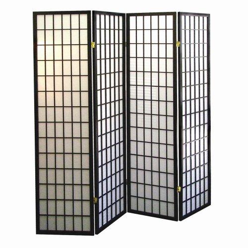 ORE International 4-Panel Shoji Screen Room Divider, Black by ORE