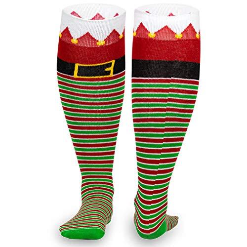Christmas Woven Knee High Running Socks   Santa's Elf]()