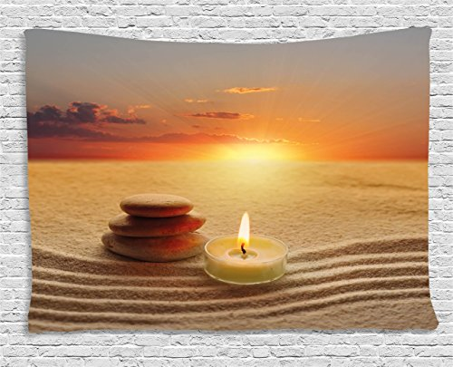 Ambesonne Boho Tapestry, Stack of Stones and Candle Chakra Meditation Zen Yoga Horizon Backdrop Picture, Wall Hanging for Bedroom Living Room Dorm, 80 W X 60 L Inches, Orange Sand Brown