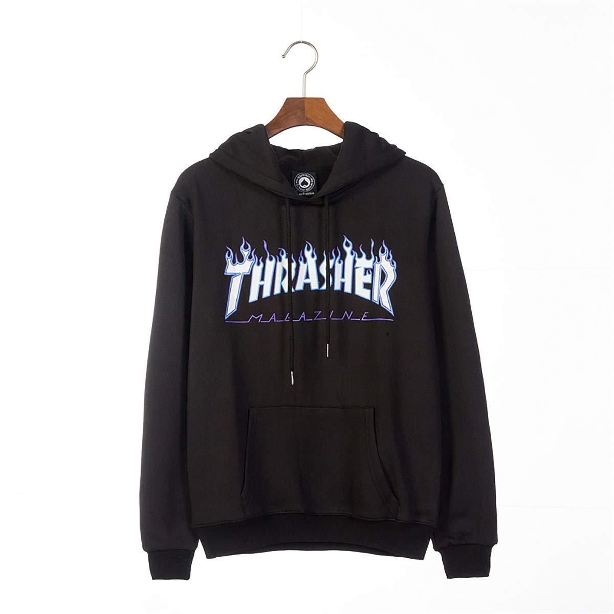 W&TT Boy Hooded Sudadera, otoño e Invierno de algodón de Terciopelo Caliente suéter de la Letra de la impresión Uniforme de béisbol,Black,M