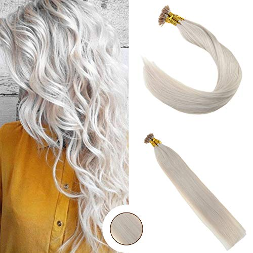 - Ugeat 20inch Seamless Weft Stick I Tip Extensions #60 Light Blonde Remy Keratin Tipped Human Hair Extensions 0.8g/s Straight I Tip Stick Fusion Hair Extensions