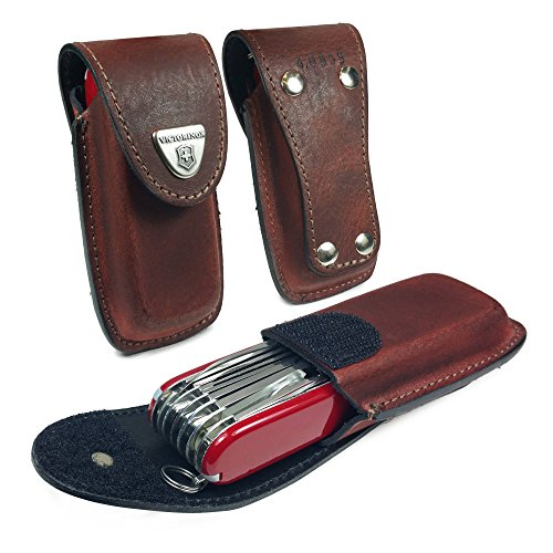 TUFF LUV Personalised Genuine Leather Case/Pouch / Sheath/Holder for Victorinox Swiss Army Pen Knife ([(5-8 Layers) Huntsman, Swiss Champ, Hiker, Climber] with Belt Loop - - Bicycle Swiss Knife Army