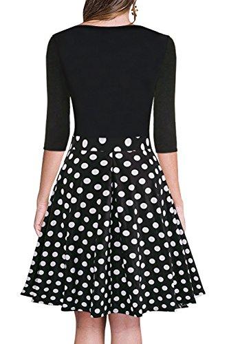 de Rockabilly cintura Hepburn hasta de vestido retro Audrey los rodilla burbuja cóctel del la noche una elegantes y oscilación de 50s la vestidos vestidos Scothen Polka línea de imperio Dot de falda wEvSFqzWFH