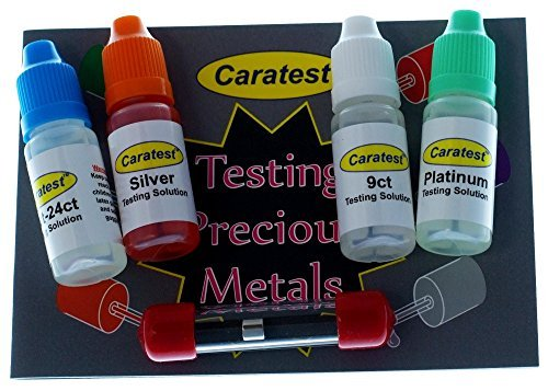 Caratest Professional Gold, Silver and Platinum Testing Kit - Tester Solution, Miniature File, Magnet,Testing Stone & Full Colour Instruction Booklet