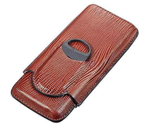 Visol Products Granada 3-Finger Cigar Case with Cigar Cutter, Brown