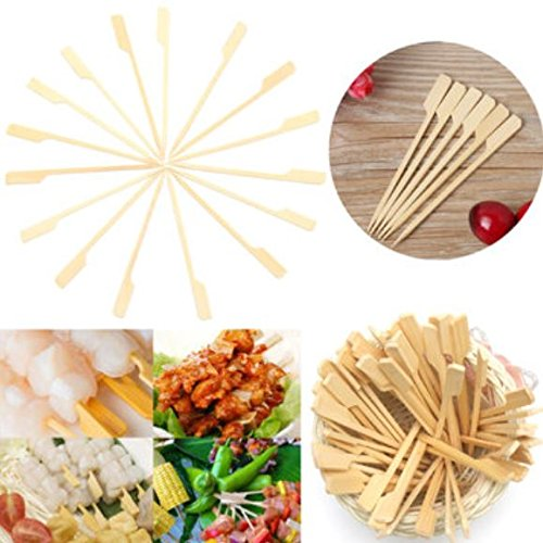 100Pcs 12cm Flat Bamboo Skewers Sticks Wooden Picnic BBQ Kebab Meat Fruit Fountain Buffet by ShopIdea by ShopIdea