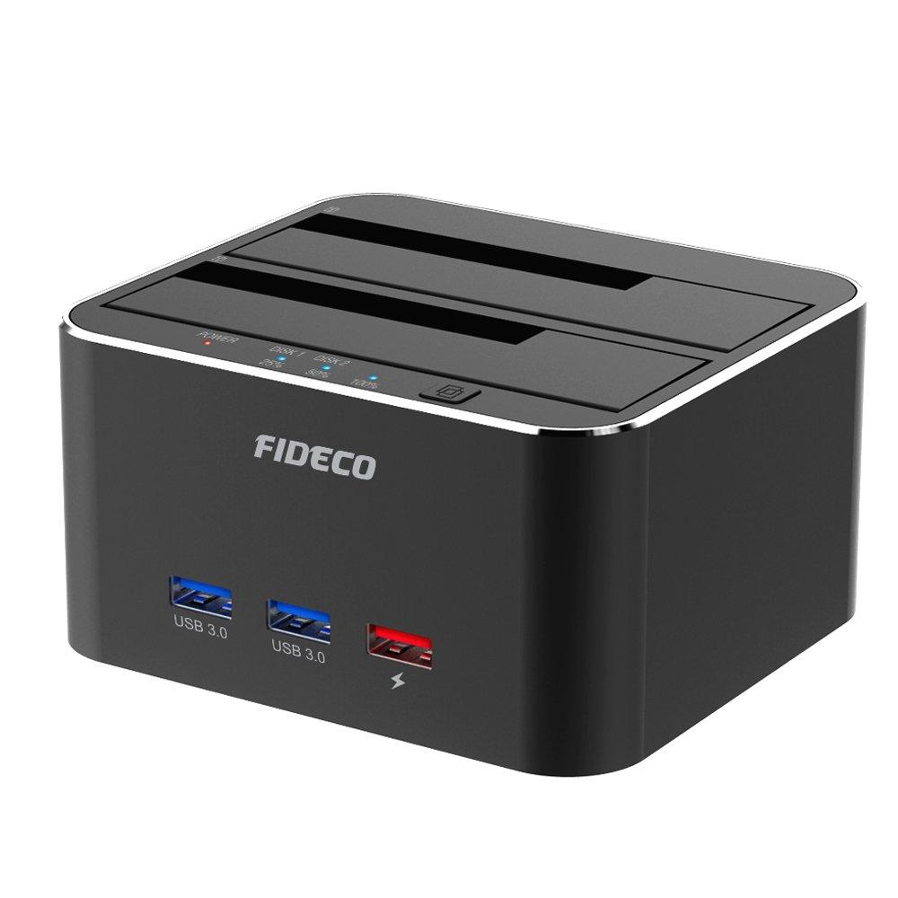 FIDECO Base de Conexió n Docking Station, Aluminio USB 3.0 Base de Conexió n para Disco Duro con 3 Port Hub con Funció n de Clon Offline y 2 Bahias para SATA HDD y SSD de 2,5/3,5 Pulgadas