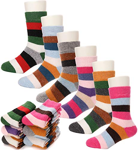 Children Wool Socks For Boy Girl Kids Toddler Thick Thermal Warm Cotton Winter Crew Socks 6 Pack (4-7 Y, Color Stripe)