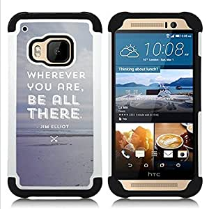 BullDog Case - FOR/HTC ONE M9 / - / GREY BEACH BE TEXT ATTENTIVE THERE ALL /- H??brido Heavy Duty caja del tel??fono protector din??mico - silicona suave