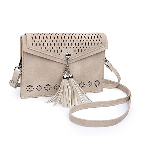 Go Girl Purse - Small Crossbody Purse for Women with Double Compartment, seOSTO Tassel Phone Purse Bag for Girl