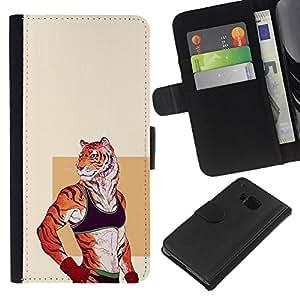 LECELL--Cuero de la tarjeta la carpeta del tirón Smartphone Slots Protección Holder For HTC One M9 -- Entrenamiento Sexy Tiger Animal --