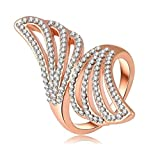 Bishilin 18K Gold Plated Fashion Womens Ring Wedding Bands Angel Wing Rose Gold US Size 8