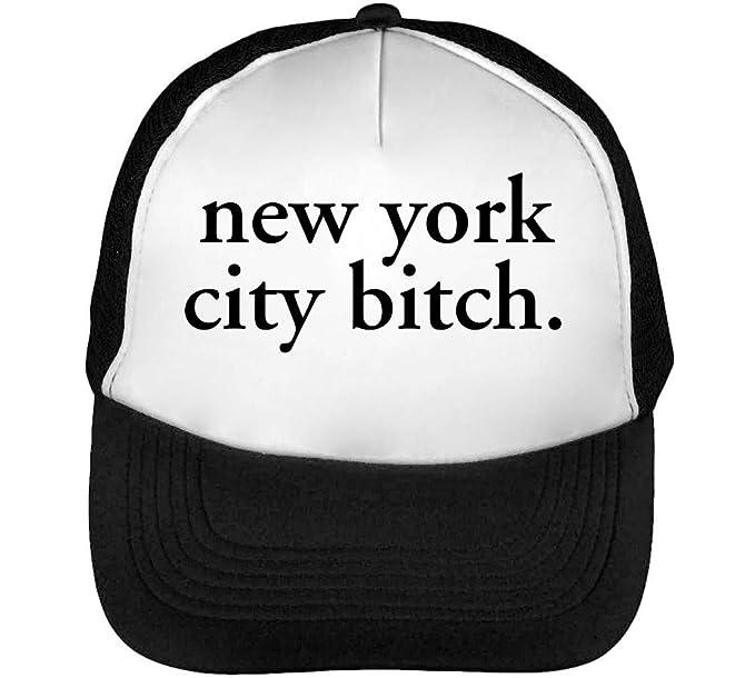 New York Bitch Funny Fashioned Slogan Gorras Hombre Snapback Beisbol Negro Blanco: Amazon.es: Ropa y accesorios