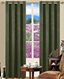Cheap Dark Green Curtains 95 Inch Sideli Thermal Insulated Blackout Electric Carving Solid Color Grommet Top Curtains Draperies with Multi Size Multi Color (One Panel) (52″Wx95″H, Dark Green)