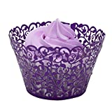 BETOP HOUSE Vine Lace 50-Piece Cupcake Wrappers, Purple