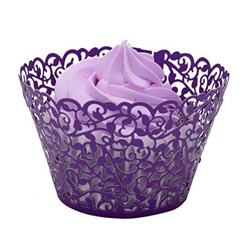 BETOP HOUSE Vine Lace 50-Piece Cupcake Wrappers, (Purple Cupcake)