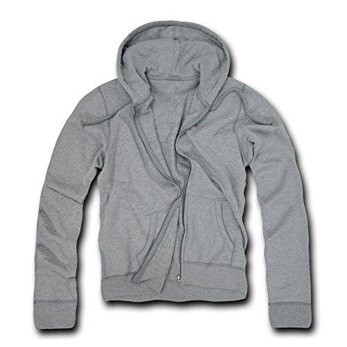DECKY Basic Zip Up Hoodies, Heather Grey, Large