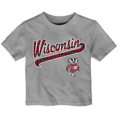 (NCAA Wisconsin Badgers Toddler Flannel Script Short Sleeve Tee, 3T, Heather Grey)