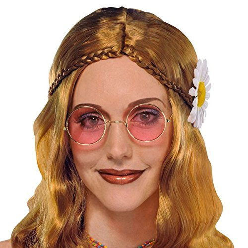 Love Costumes 60s Man Child (Amscan Groovin '60S Costume Party Hippie Glasses (Pack Of 1), Gold, One)