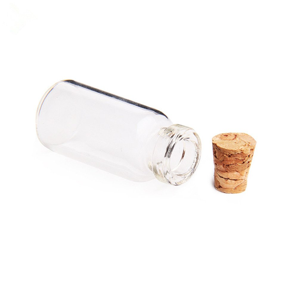 Danmu Art 24PCS 2/ml mini bottigliette in vetro trasparente con tappo in sughero