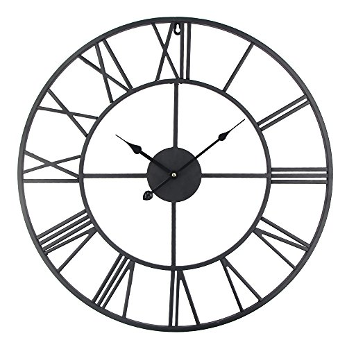 Roman Round Clock, Timelike Handmade Large Wall Clock Wrought Metal Wall Art Hanging Decorative Wall Sculpture Decor (58CM)