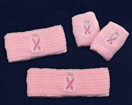 Fundraising For A Cause Pink Ribbon Sports Gear Pack (Retail- Headband, Armband, Sweatband)