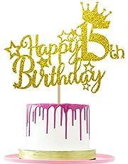 Ushinemi Happy 15th Birthday Cake Topper, 5.9x4.75 inch, Gold