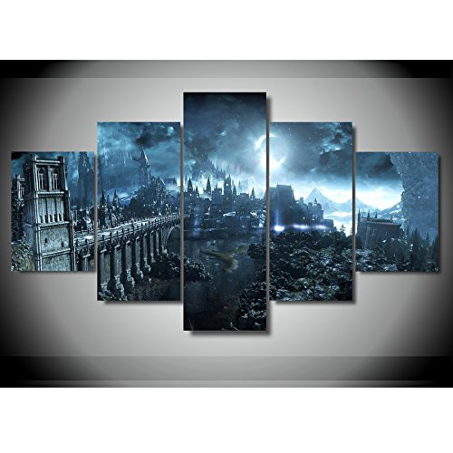 Dark Decor ([LARGE] Premium Quality Canvas Printed Wall Art Poster 5 Pieces / 5 Pannel Wall Decor Dark Soul Painting, Home Decor Pictures - With Wooden Frame)