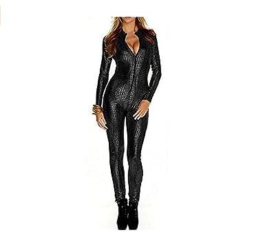 9f93fd6dee5 Bon amixyl Women Shiny Catsuit Unitard Faux Leather Jumpsuit Cosplay Ladies  Girl Fancy Dress Playsuit Sexy Party Clubwear PU Leather Bodysuit Zip Up ...