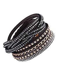 Multi Strap Slake Studded Crystal Encrusted Strand Swarovski Elements Grey Suede Adjustable Strap Double Wrap Bracelet