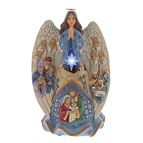 Jim Shore Heartwood Creek Enesco Lighted Nativity Angel Musical, Multicolor
