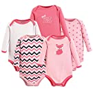 Luvable Friends 5 Pack Long Sleeve Bodysuit, Foxy, 0-3 Months