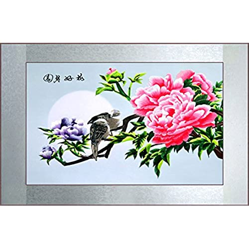 Grace Art, Large Asian Silk Embroidery Art Wall Hanging, Peony
