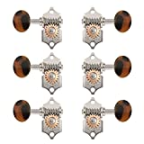 Waverly Guitar Tuners with Dark Tortoise Oval Knobs for Solid Pegheads, Nickel, 3L/3R
