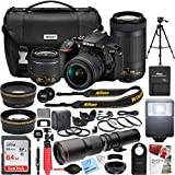 Nikon D5600 24.2 MP DSLR Camera with AF-P DX 18-55mm f/3.5-5.6G VR and 70-300mm f/4.5-6.3G ED Dual Zoom Lens Kit + 500mm Preset f/8 Telephoto Lens + 0.43x Wide Angle, 2.2x Pro Bundle