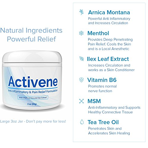 ACTIVENE Arnica Gel Cream - with Menthol and MSM | Pain Relief