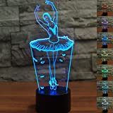3D Ballet Dancer Girl Lamp Night Light 7 Color Change LED Table Desk Lamp Acrylic Flat ABS Base USB...