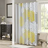 Yellow Shower Curtain Comfort Spaces – Enya Shower Curtain – Yellow, Grey – Floral Printed- 72x72 inches