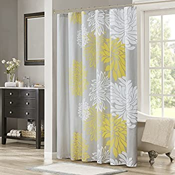 Comfort Spaces Enya Shower Curtain Yellow Grey Floral Printed 72x72 Inches