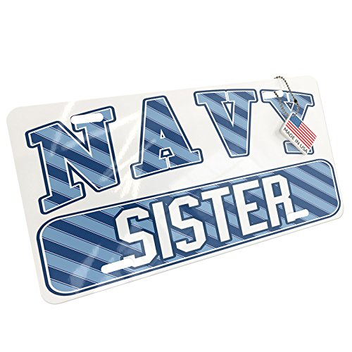 Metal License Plate NAVY Sister, Blue stripes - (Sisters Stripe)