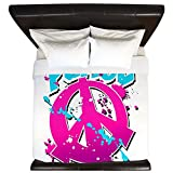 King Duvet Cover Peace Symbol Sign Splatter Neon