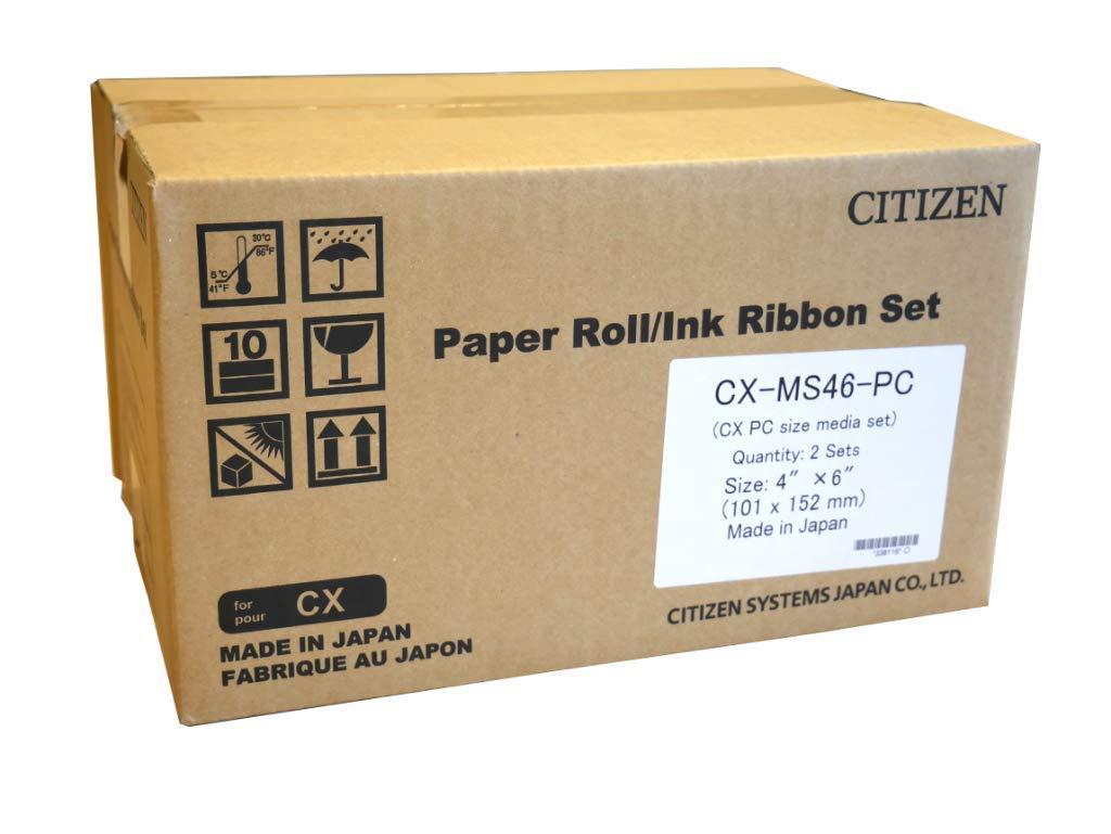 "Citizen CX Photo Printer Media Pack 4x6/"" Paper Roll /& Ink Ribbon 800 Prints"