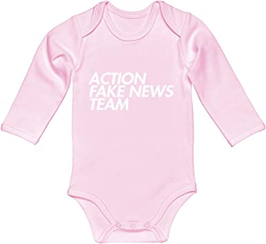 Indica Plateau Baby Romper Fake News 100/% Cotton Long Sleeve Infant Bodysuit