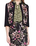 Tahari by ASL Women's Floral Embroidered Jacket Black 2P