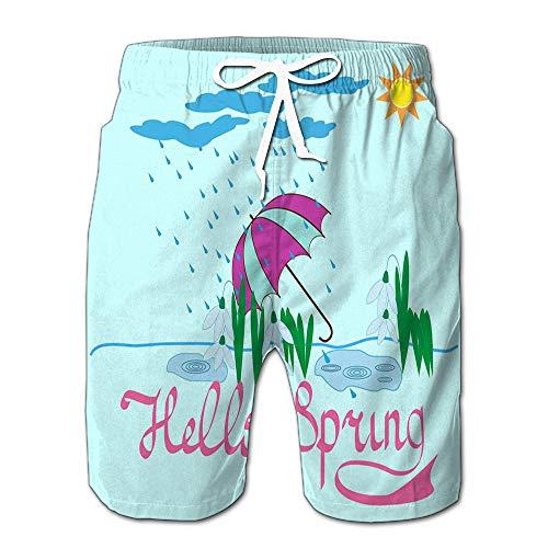 Randell Summer Shorts Pants Quote Hello Spring Girl Cute Swim Trunks Stripe Casual Swim Shorts M